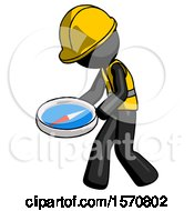 Black Construction Worker Contractor Man Walking With Large Compass