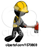 Black Construction Worker Contractor Man With Ax Hitting Striking Or Chopping