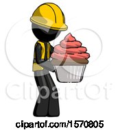Black Construction Worker Contractor Man Holding Large Cupcake Ready To Eat Or Serve