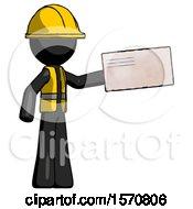 Black Construction Worker Contractor Man Holding Large Envelope