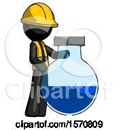 Black Construction Worker Contractor Man Standing Beside Large Round Flask Or Beaker