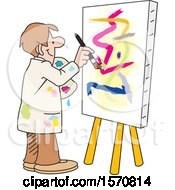 Cartoon Male Artist Painting An Abstract On A Canvas