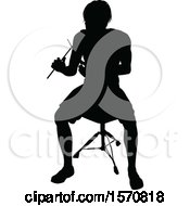 Clipart Of A Silhouetted Female Drummer Royalty Free Vector Illustration by AtStockIllustration