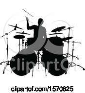 Clipart Of A Silhouetted Male Drummer Royalty Free Vector Illustration by AtStockIllustration