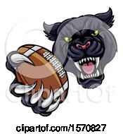 Clipart Of A Tough Black Panther Monster Mascot Holding Out A Football In One Clawed Paw Royalty Free Vector Illustration by AtStockIllustration