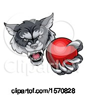 Poster, Art Print Of Tough Wolf Monster Mascot Holding Out A Cricket Ball In One Clawed Paw