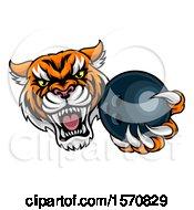 Poster, Art Print Of Vicious Tiger Sports Mascot Grabbing A Bowling Ball