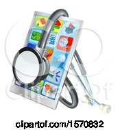 3d Medical Stethoscope Around A Smart Phone With Apps On The Screen