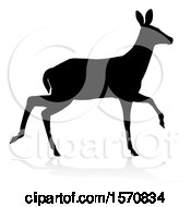 Silhouetted Black Silhouetted Deer Doe With A Shadow Or Reflection On A White Background