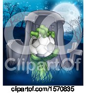 Clipart Of A Rising Zombie Hand Holding A Soccer Ball In A Cemetery Royalty Free Vector Illustration by AtStockIllustration
