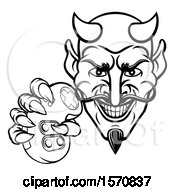 Clipart Of A Black And White Grinning Evil Devil Holding A Video Game Controller Royalty Free Vector Illustration