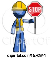 Blue Construction Worker Contractor Man Holding Stop Sign