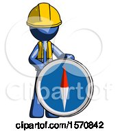 Blue Construction Worker Contractor Man Standing Beside Large Compass