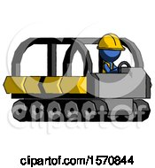 Blue Construction Worker Contractor Man Driving Amphibious Tracked Vehicle Side Angle View