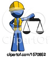 Blue Construction Worker Contractor Man Holding Scales Of Justice