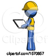 Blue Construction Worker Contractor Man Looking At Tablet Device Computer With Back To Viewer