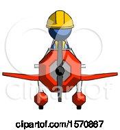 Blue Construction Worker Contractor Man In Geebee Stunt Plane Front View