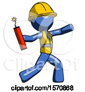 Blue Construction Worker Contractor Man Throwing Dynamite