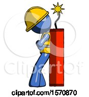 Blue Construction Worker Contractor Man Leaning Against Dynimate Large Stick Ready To Blow
