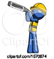 Blue Construction Worker Contractor Man Thermometer In Mouth