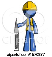 Blue Construction Worker Contractor Man Standing With Large Thermometer