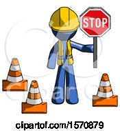 Blue Construction Worker Contractor Man Holding Stop Sign By Traffic Cones Under Construction Concept