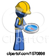 Blue Construction Worker Contractor Man Looking At Large Compass Facing Right