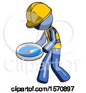 Blue Construction Worker Contractor Man Walking With Large Compass
