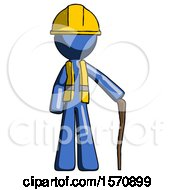 Blue Construction Worker Contractor Man Standing With Hiking Stick