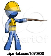 Blue Construction Worker Contractor Man Pointing With Hiking Stick