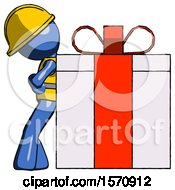 Blue Construction Worker Contractor Man Gift Concept Leaning Against Large Present