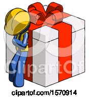 Blue Construction Worker Contractor Man Leaning On Gift With Red Bow Angle View