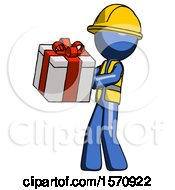 Blue Construction Worker Contractor Man Presenting A Present With Large Red Bow On It