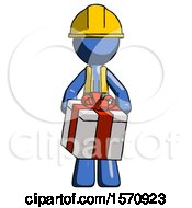 Blue Construction Worker Contractor Man Gifting Present With Large Bow Front View