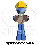 Poster, Art Print Of Blue Construction Worker Contractor Man Reading Book While Standing Up Facing Viewer
