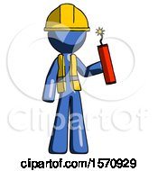 Blue Construction Worker Contractor Man Holding Dynamite With Fuse Lit