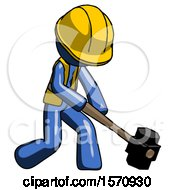 Blue Construction Worker Contractor Man Hitting With Sledgehammer Or Smashing Something At Angle