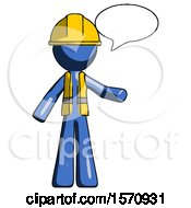 Blue Construction Worker Contractor Man With Word Bubble Talking Chat Icon
