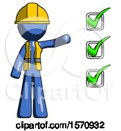 Blue Construction Worker Contractor Man Standing By List Of Checkmarks