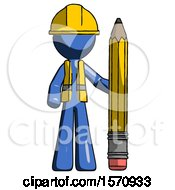 Blue Construction Worker Contractor Man With Large Pencil Standing Ready To Write