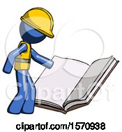 Poster, Art Print Of Blue Construction Worker Contractor Man Reading Big Book While Standing Beside It