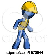 Blue Construction Worker Contractor Man Suspense Action Pose Facing Right