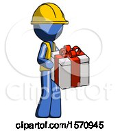 Blue Construction Worker Contractor Man Giving A Present