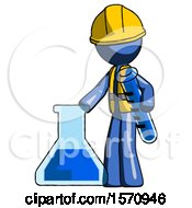 Blue Construction Worker Contractor Man Holding Test Tube Beside Beaker Or Flask