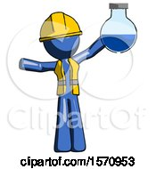 Blue Construction Worker Contractor Man Holding Large Round Flask Or Beaker