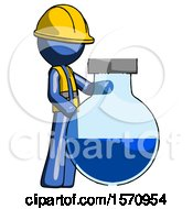 Blue Construction Worker Contractor Man Standing Beside Large Round Flask Or Beaker