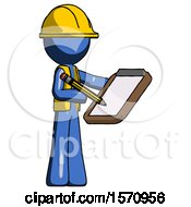 Blue Construction Worker Contractor Man Using Clipboard And Pencil