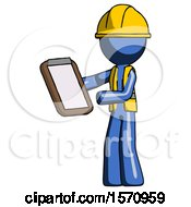 Blue Construction Worker Contractor Man Reviewing Stuff On Clipboard