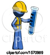 Blue Construction Worker Contractor Man Holding Large Test Tube