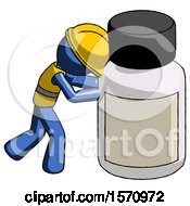 Blue Construction Worker Contractor Man Pushing Large Medicine Bottle